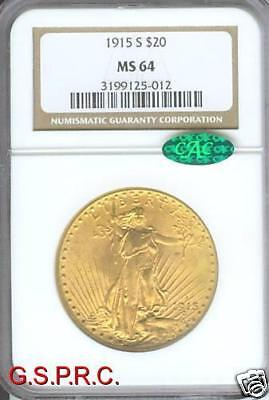 1915 S $20 ST. GAUDENS DOUBLE EAGLE NGC MS 64 SAINT MS64 CAC