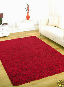 Image is loading LARGE-THICK-RED-PLAIN-SHAGGY-MODERN-RUG-120x160-