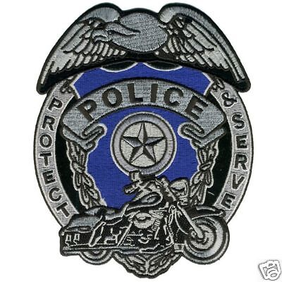 Police Badge Embroidered Patch 4 Inch Biker Patch