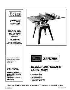 craftsman table saw 113 model manual