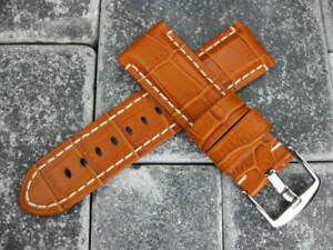24mm-Gator-Leather-Strap-Brown-Watch-Band-Made-Super-Avenger-Tang-Buckle-BR