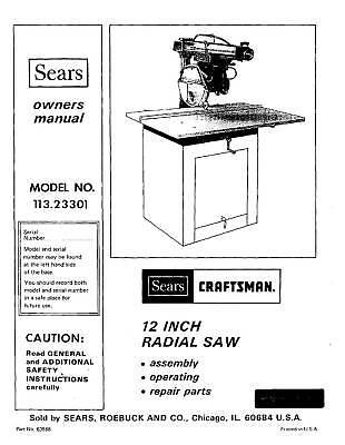 craftsman radial arm saw manual