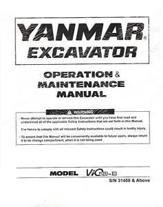 Yanmar B5 Excavator owners manual