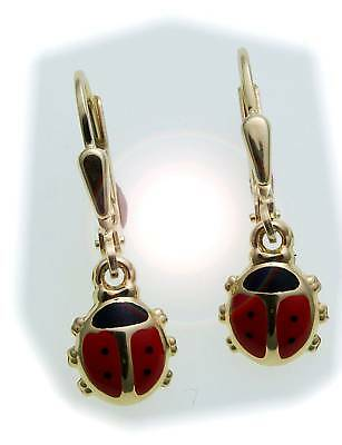 Children Earrings Ladybug 333 Gold Of Yellow Gold Quality