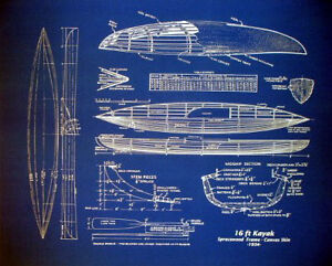 Wood-and-Canvas-KAYAK-Boat-1934-Blueprint-Plan-Drawing-20-x24