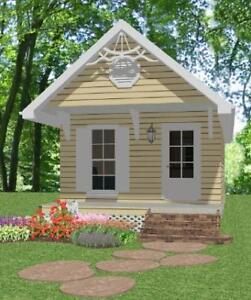 Complete house plans 390 s f cute cottage 1 bed 1 ba ebay for Mother in law cottage