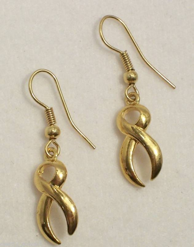 #9520 -- GOLD AWARENESS RIBBON CHARM EARRINGS -WOW!
