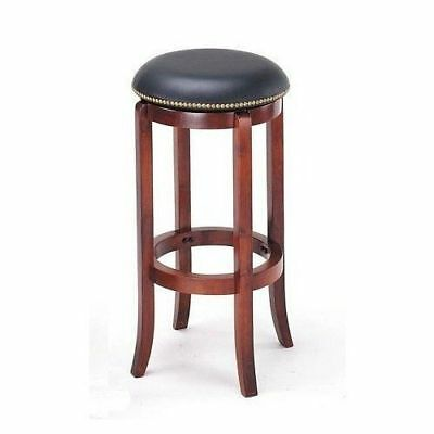 24 Quot Nailhead Leather Wood Swivel Barstool Bar Stool