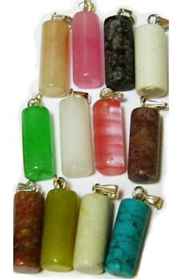 10 pcs gemstone pendants lot agate turquoise jade quartz jasper mixed tube
