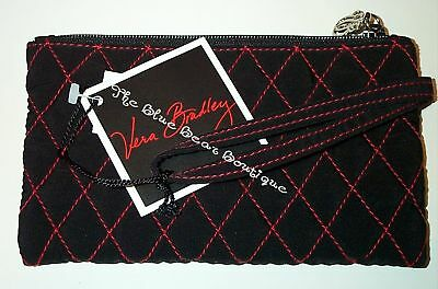 Vera Bradley Retired Black Microfiber Slim Cosmetic