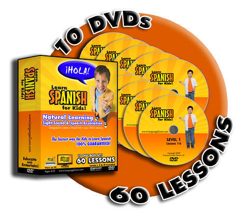 Learn Spanish for Kids! Box Set, 60 FUN Lessons on 10 DVDs +FREE Worksheets!