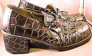 Vintage-Mens-Shoes-Platforms-Faux-Gator-Botany-500-1970S-Size-9-Womens-10