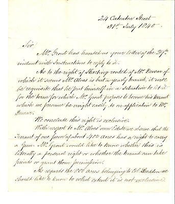 1840 LONDON LETTER ESHAM HOUSE To HENRY EARLE ANDOVER