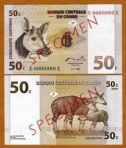SPECIMEN-Congo-D-R-50-Centimes-1997-P-84A-84As-UNC