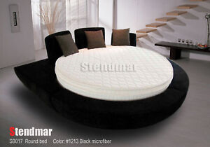 Image is loading Modern-platform-Round-Bed-with-pillow-top-mattress-