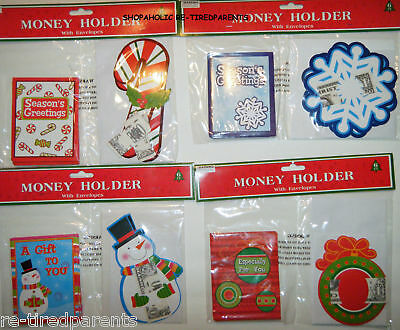 Christmas - Holiday - Money Holders – Set - 6 Cards - 6 Envelopes - Choice - Nip
