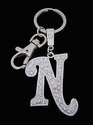 A z initial letter key chain ring holder clear crystals for Letter ring holder