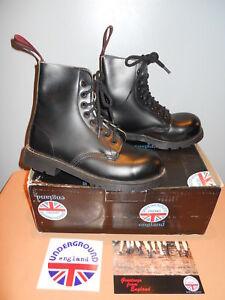 New Underground England British Steel Cap Black Leather Punk Boots Union Jack 4
