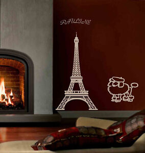 eiffel tower paris wall mural vinyl decal w your name ebay. Black Bedroom Furniture Sets. Home Design Ideas