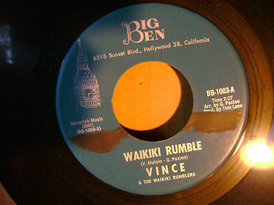 Mint M  Rare Surf 45 Vince Waikiki Rumble Pacifica Gary Paxton On Big Ben Listen