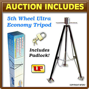 Ultra-Fab-5th-Wheel-Kingpin-Stabilizer-Tripod-w-padlock-King-Pin-5000-lb-ECON