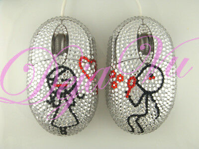 CRYSTAL COUPLE VALENTINE USB OPTICAL COMPUTER MOUSE (Crystal Computer Mouse)
