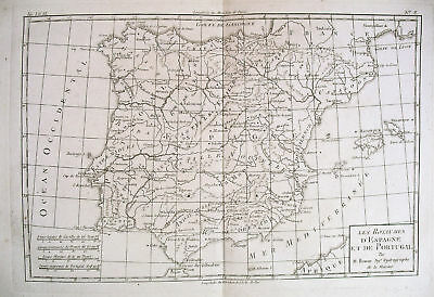 1780 Genuine Antique map of Spain & Portugal by  Bonne