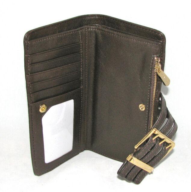 44a54a094276 Michael Kors Gansevoort Teak Brown Top Zip Leather Wallet Clutch- for sale  online