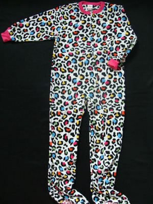 Girls Footed Fleece Pajamas Size 4 5 Winter Leopard Print Pjs Jammies