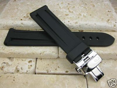 26mm Rubber Diver Strap Deployment Buckle Fit Panerai