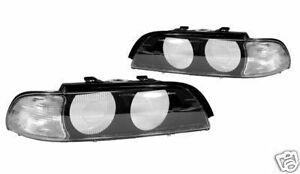 97-00-BMW-E39-EURO-CLEAR-CORNER-REPLACEMENT-HEADLIGHTS-LENSES-COVERS-WITH-FRAME
