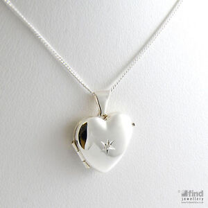 New-Ladies-Sterling-Silver-Ladies-Diamond-Heart-Locket-16-034-Necklace-Gift-Boxed