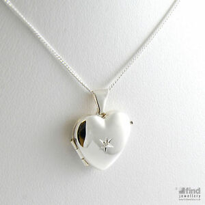 New-Ladies-Sterling-Silver-Ladies-Diamond-Heart-Locket-16-Necklace-Gift-Boxed