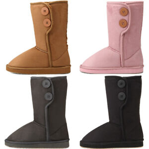Button-Middle-Faux-Sheepskin-Winter-Snow-Womens-Boots