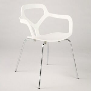 Set of 4 white abs plastic dining chair stacking chair stackable chairs modern - White resin stacking chairs ...