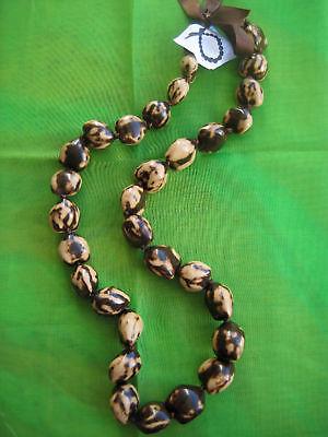 NEW Hawaii Wedding / Graduation Kukui Nut Lei Hula Jewelry Necklace ~BEIGE/BROWN