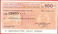 Mini Assegno Circolare Banca Popolare Milano Lire 100 -  - ebay.it