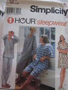9391 Simplicity SEWING Pattern Mens Misses EZ Sleepwear