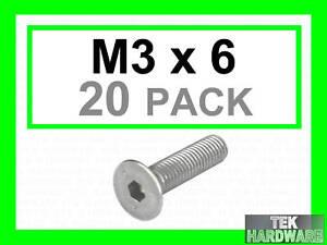 Stainless-Steel-Countersunk-Allen-Bolts-M3-x-6-20-Pk