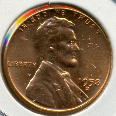 1958 D LINCOLN CENT GEM BU RED FREE DOMESTIC SHIPPING GREAT PRICE!