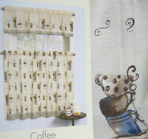 3PC CAFE PARIS Kitchen Curtains Set COFFEE CUPS JAVA Brown Blue ...
