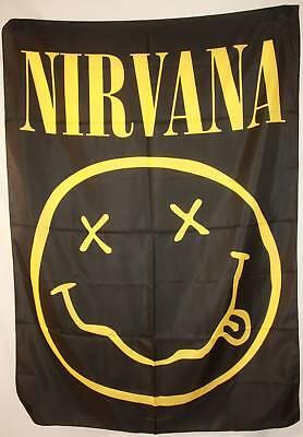 NIRVANA KURT COBAIN SMILEY SMILY FACE Cloth Poster Fabric Flag Wall Banner-New!!