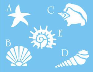 STENCIL-Seashell-Starfish-Snail-Conch-Spike-Fan-Shape-Nautical-Beach-Bath-Decor