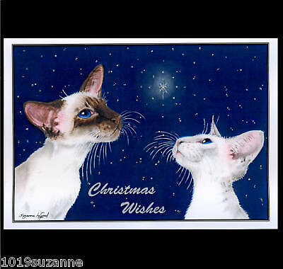 SIAMESE CAT GLITTER STAR CHRISTMAS CARD FROM ORIGINAL PAINTING SUZANNE LE GOOD