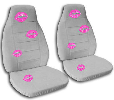 2 front seat covers in black with hot pink lips ebay. Black Bedroom Furniture Sets. Home Design Ideas