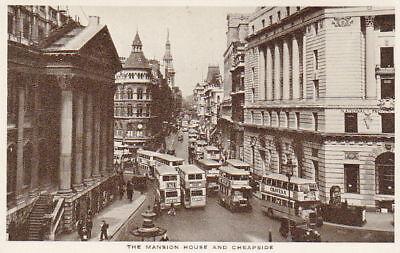 MANSION HOUSE & CHEAPSIDE - VINTAGE WW2 LONDON POSTCARD