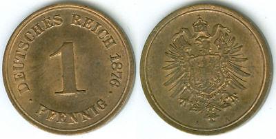 Kaiserreich  1 Pfennig 1876 A fast stempelglanz Lichtenrader Prägung