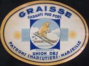 1930-French-Advertising-Ski-Label-Pig-Skiing-039-Le-Goret-Skieur-039