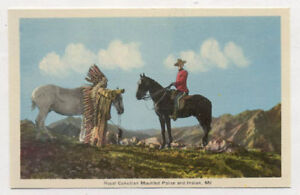 ROYAL CANADA MOUNTED POLICE & INDIAN OLD POSTCARD PC6780