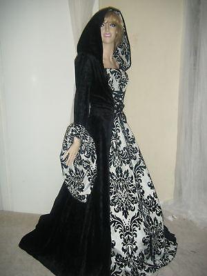 MEDIEVAL RENAISSANCE HALLOWEEN  HOODED WEDDING DRESS GOWN COSTUME. 10-16 18-24